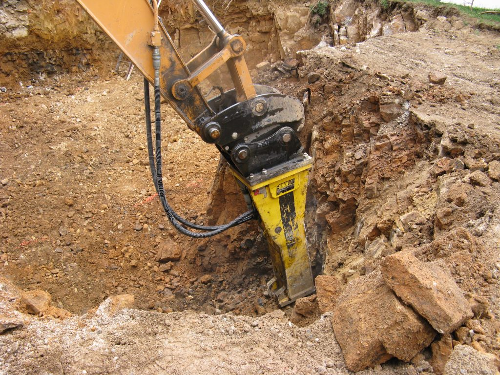 Hammer attachment to the excavator