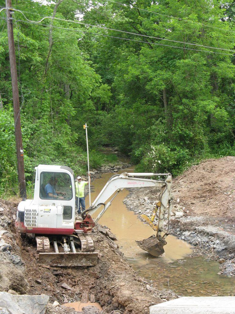 Rebuilding Road Bridge over Creek