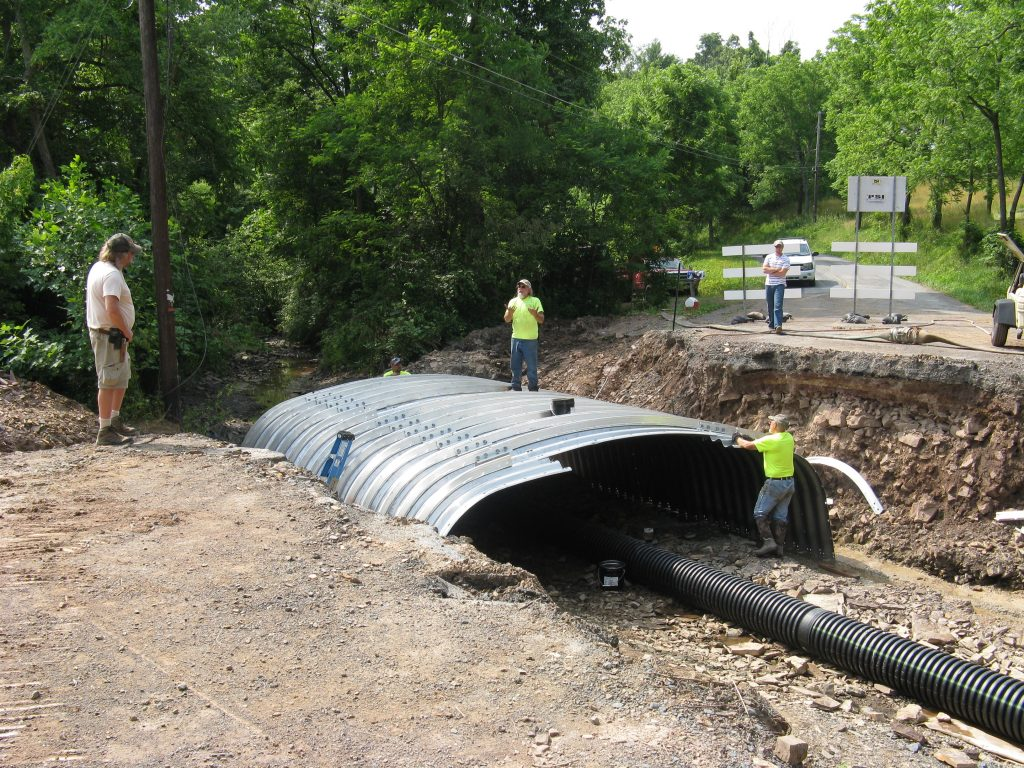 Rebuilding Road Bridge over Creek